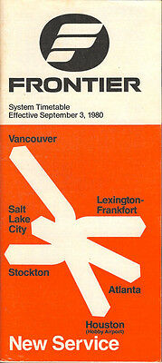 Frontier Airlines system timetable 9/3/80 (Buy 2 get 1 free)