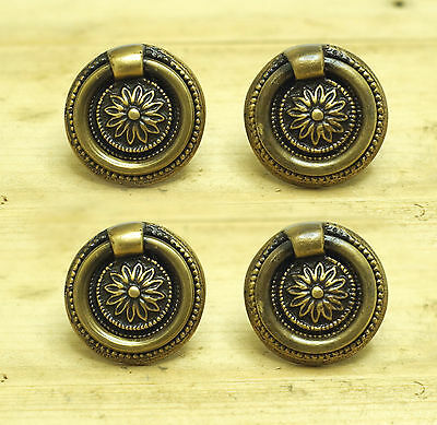 Set of 4 pcs Vintage Floral Back Plate Ring Pull Hardware Cabinet Knob Pulls