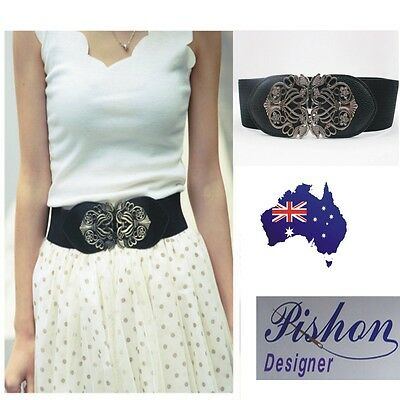 Women Retro Adjustable Flower Elastic Stretch Buckle Wide Waistband Waist Belt