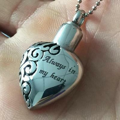 Always In My Heart Cremation Jewelry Pendant Keepsake Memorial Urn Necklace ぴ