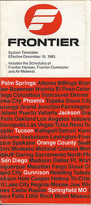 Frontier Airlines system timetable 12/10/83 (Buy 2 get 1 free)