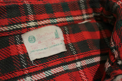 "Vintage 1950s "" 5 BROTHERS "" Brand Plaid Flannel Shirt Jacket Distressed Repairs"