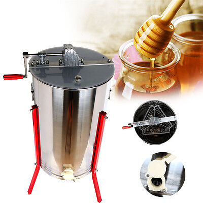 Large Pro Three 3 Frame Honey Extractor Stainless Steel Beekeeping Equipment
