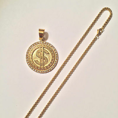 "Men 14K Gold Plated Iced Out Dollar Sign Hip Hop  Pendant 30"" Round Box Chain"