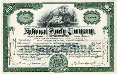 1932 National Surety Co of New York Stock Certificate