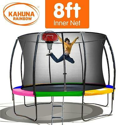 8FT Round Trampoline Safety Net Set Spring Rainbow Pad Cover Basketball Ladder
