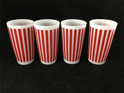 4 Hazel Atlas Red Candy Striped Glasses Tumblers