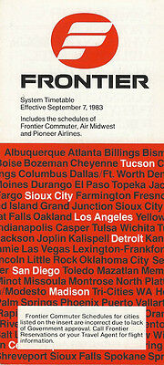 Frontier Airlines system timetable 9/7/83 (Buy 2 get 1 free)