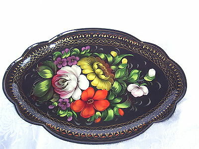 Vintage Toleware Tole Ware Hand Painted Serving Tray Artist Signed Germany