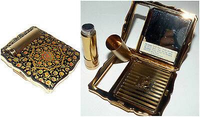 Vintage STRATTON Compact with Enamelled Lid and Lipstick