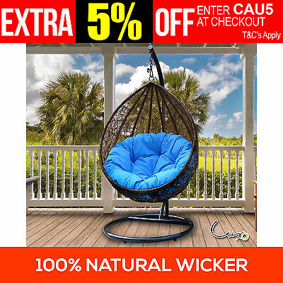 Natural Wicker Rattan Hanging Swing Pod Egg Chair Patio Bed Furniture w/ Cushion