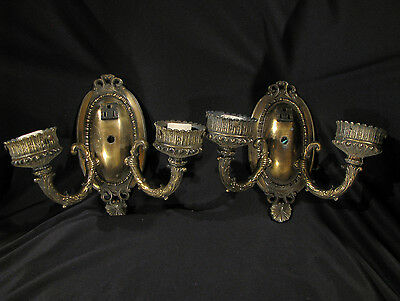 Vintage PAIR OF BRASS ART DECO STYLE 2-ARM WALL SCONCES - FOR RESTORATION