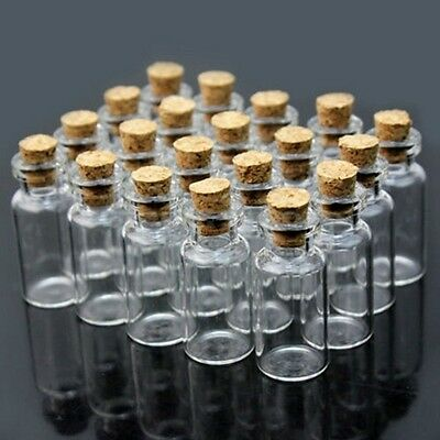 100x Mini Clear Cork Stopper Glass Bottles Vials Jars Container Smaple Small Lot