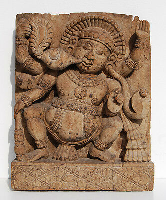 Antique BHUTA Carved Wood Chariot Panel, Ratha India Hindu Temple Diety Figure