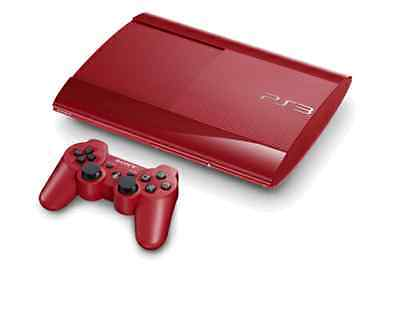 PS3 Sony PlayStation 3 Super Slim 500GB Console Red + Controller & Leads 104632