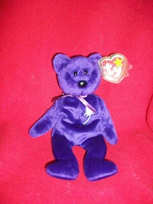 """Ty Princess Diana Purple bear with tag 1997 9"""" not played with"""
