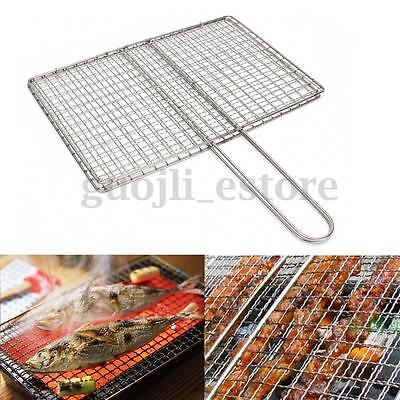 Stainless Steel BBQ Fish Meat Net Barbecue Grill Mesh Wire Clamp Outdoor Picnic