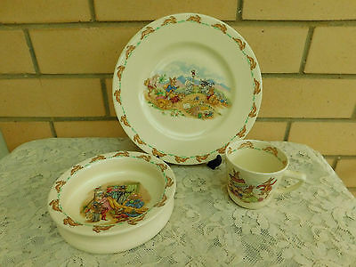 3 Pieces Vintage Royal Doulton Bunnykins - Bowl, Cup & Dinner Plate