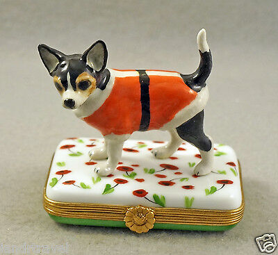 New French Limoges Box Cute Dressed Up Chihuahua Dog Puppy On Red Poppies