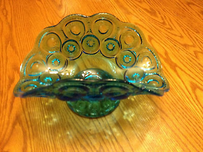 Mid Century LE Smith Moon Stars Blue Scalloped Art Glass Banana Fireside Stand