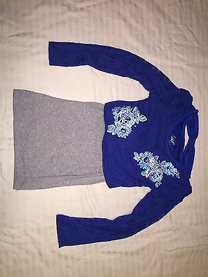 Girls Justice Layered Long Sleeve Shirt Blue/Gray Size 8
