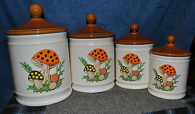Merry Mushroom Kitchen Canisters Set Of Four Sears & Roebuck 1982
