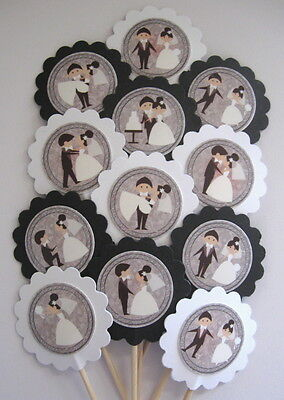 Wedding  Cupcake Toppers/Party Picks   Item #1164 Bride and Groom