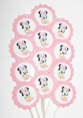 Girl Baby Shower  Cupcake Toppers/Party Picks  Item #582 Minnie Mouse