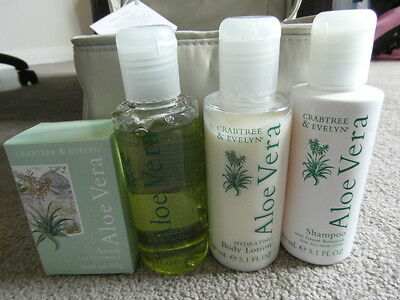 Crabtree and Evelyn Aloe Vera Bath and Shower Gift Set with cosmetic bag