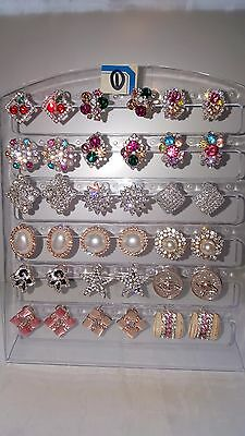 Job lot 18 Pairs Mixed Design Sparkly Diamante stud Earrings NEW Wholesale lot 1