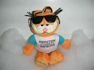 """Ty Garfield Plush Sunglasses and T-Shirt """"Perfection Is hard to improve"""" Used 8"""""""