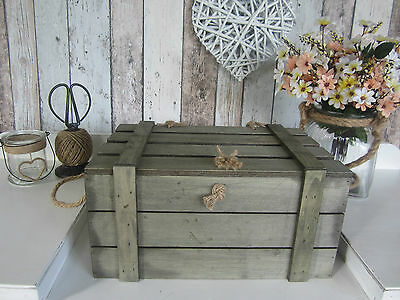 Shabby Rustic Lightweight Wooden Box Crate Chest Wishing Well Donations Large Sz