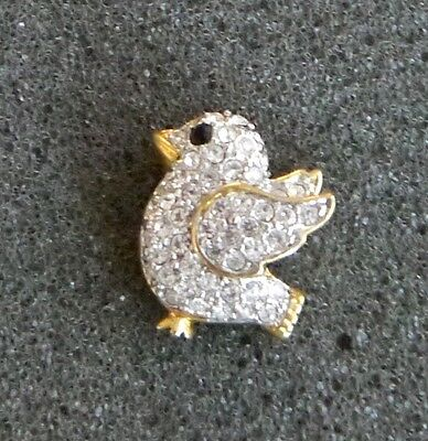 Charming & Tiny Gold Tone Bird Lapel Pin. Sparkling Black Eye and Clear Crystals