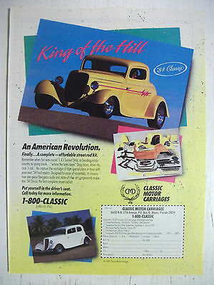 1989 Classic Motor Carriages 1934 Ford Classic Hot Rod Kitcar Replica's Advert