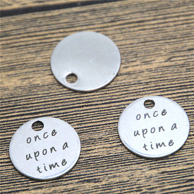 10pcs once upon a time charm silver tone message charm pendant 20mm