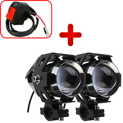 2x 125W U5 Motorcycle LED Headlight Driving Fog Spot Head Light Lamp with Switch