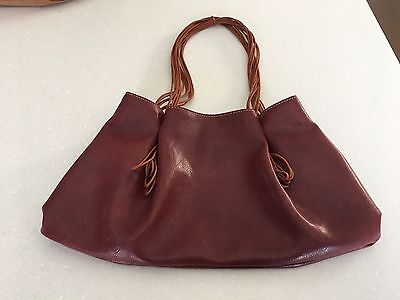 Leather Red Burgundy Handbag Made in Italy ����