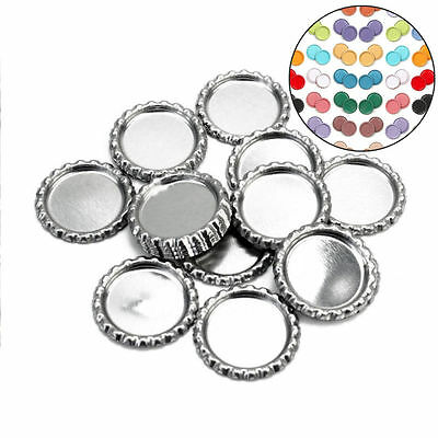 10Pc Random Color Flattened Linerless Chrome Tone Bottle Caps Crowns No Liners