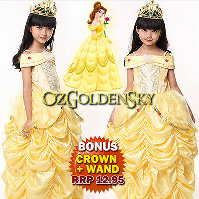 Girls Costumes Princess Belle Beauty and Beast Cosplay Dress Up Tutu With HOOP