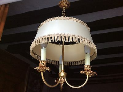 Antique Vintage French Gilt Bronze Chandelier Petite Ceiling Light Pendant