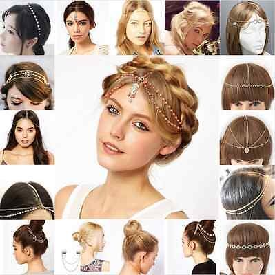 Women Metal Rhinestone Head Chain Wedding Jewelry Headband Head Piece Hair band