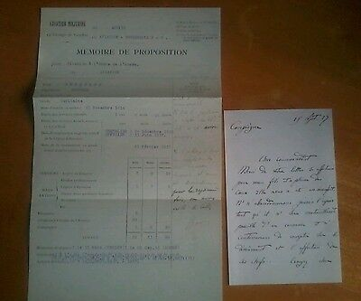 Copy Of WW1 letter sent to Guynemars parents after death and a Citation (french)