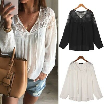 Women Summer V Neck Lace Up Crochet Sheer Long Sleeve Loose Tops T-Shirt Blouse