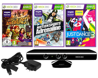 Kinect Xbox 360 Sensore + Kinect Adventures Motion Sports Adrenaline Just Dance