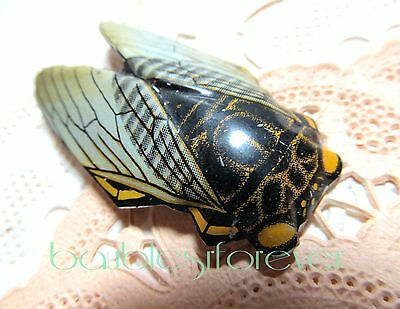 Vintage Painted Metal Cicada Insect Pin Brooch
