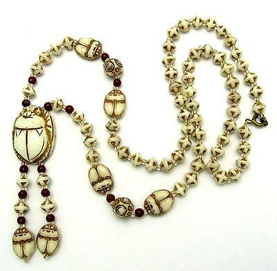 Art Deco Neiger Brothers Uranium Glass Egyptian Revival Scarab Beads Necklace