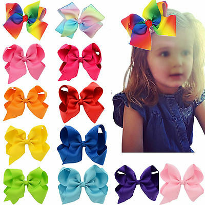 6 Inch Big Bows Boutique Hair Clip Pin Alligator Clips Grosgrain Ribbon Bow Girl