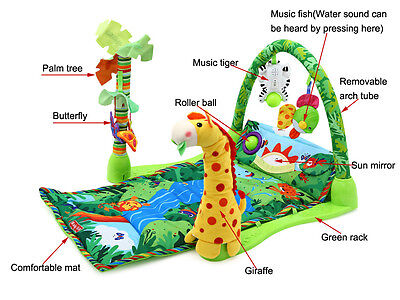 3 in 1 Rainforest Zoo Musical Lullaby Baby Activity Play Gym Toy crawl Soft Mat