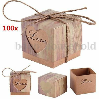 100X Sweet Heart Love Rustic Paper Kraft Candy Gift Boxes Wedding Party Favors
