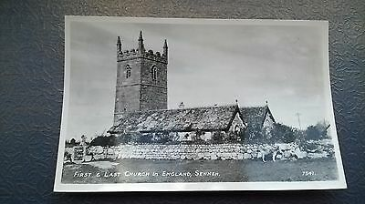VINTAGE First & Last Church in England, Sennen.  POSTCARD Real Photograph